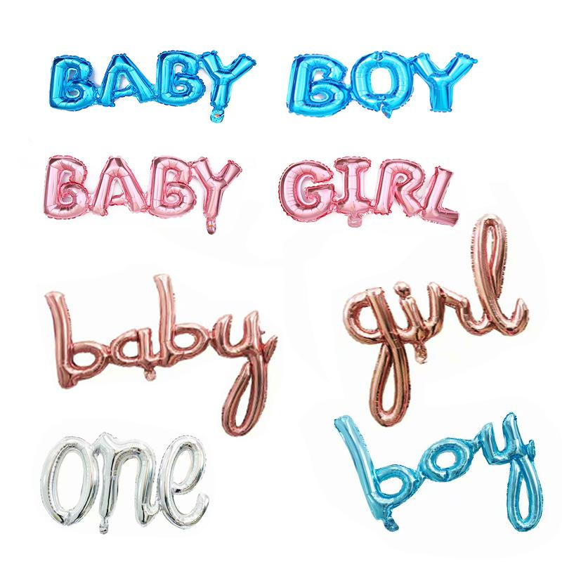 결합 된 편지 호 일 풍선 한 소년 소녀 성별 공개 풍선 생일 파티 장식 키즈 베이비 샤워 풍선 항공 지구본