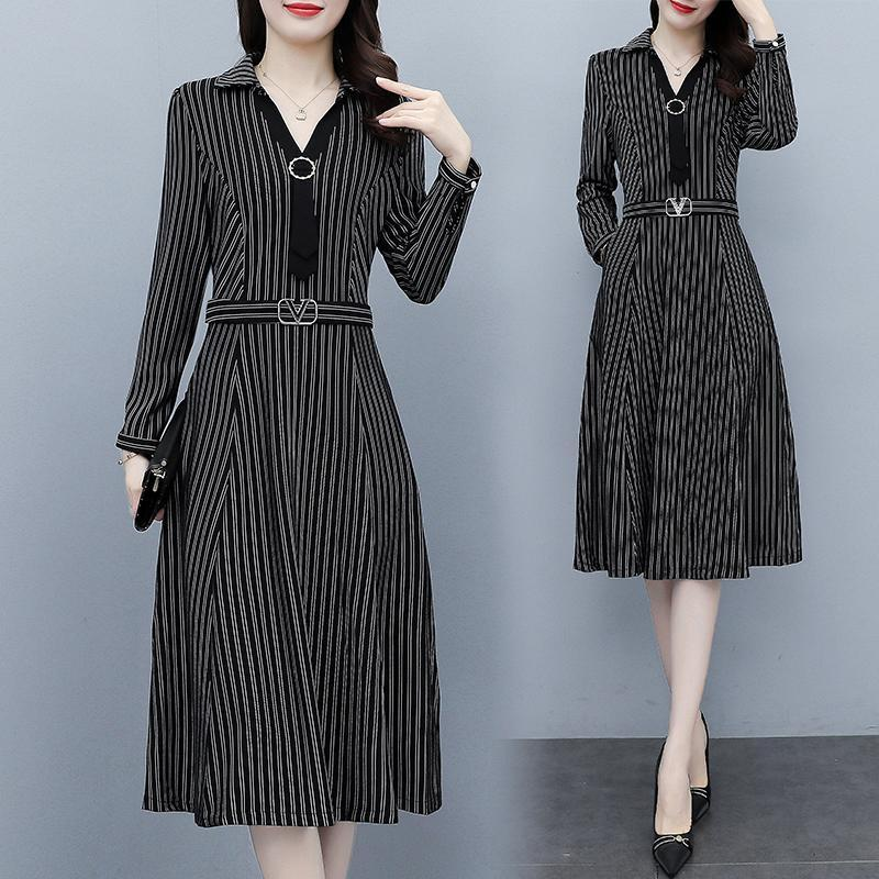Casual Dresses Women Stripe Elegant Autumn Dress Long Sleeve Party Cocktail Slim Business Birthday Outfits Office Ladies Work Wear