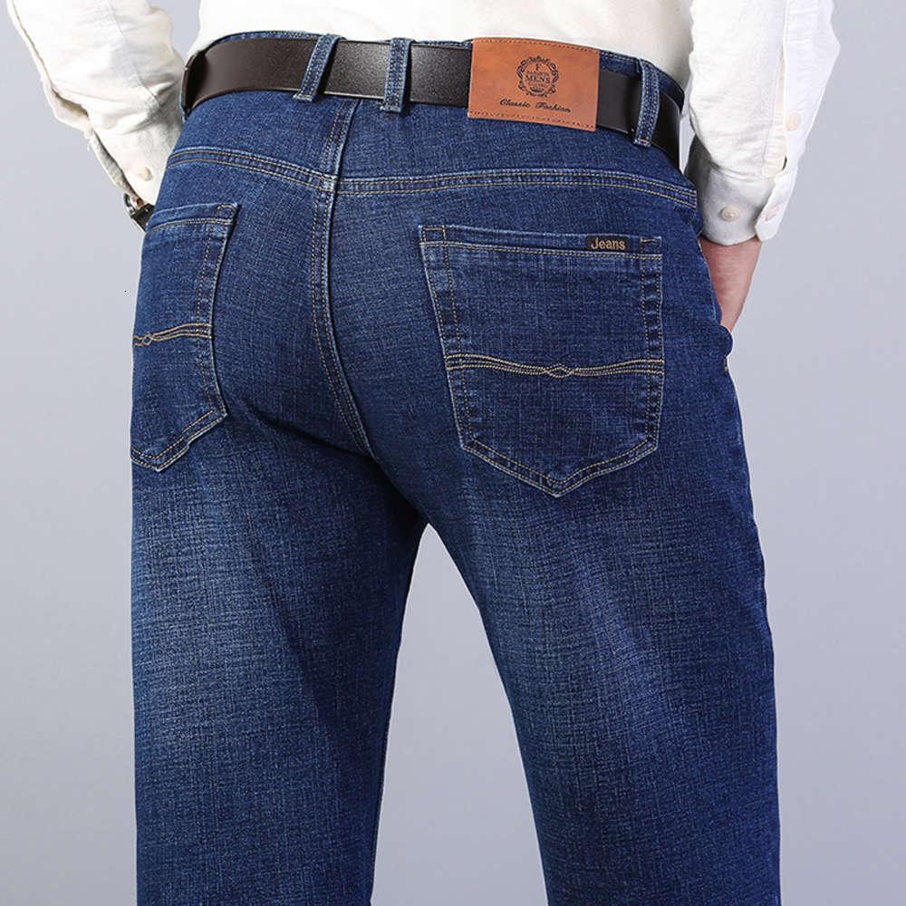 2021 раннее весенние летние тонкие свободные дышащие эластичные промытые хлопковые бизнес прямые мужские джинсы средних лет