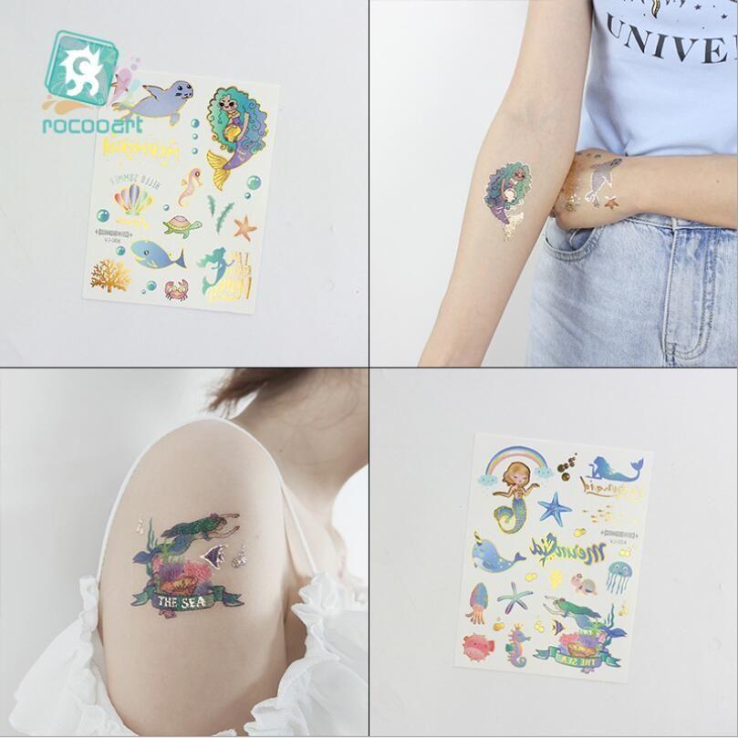 Çocuklar için Su Dövmeleri Karikatür Gümüş Altın Dövme Sticker Deniz Mermaid Geçici Dövmeler Çocuk Kız El Dövme T1841
