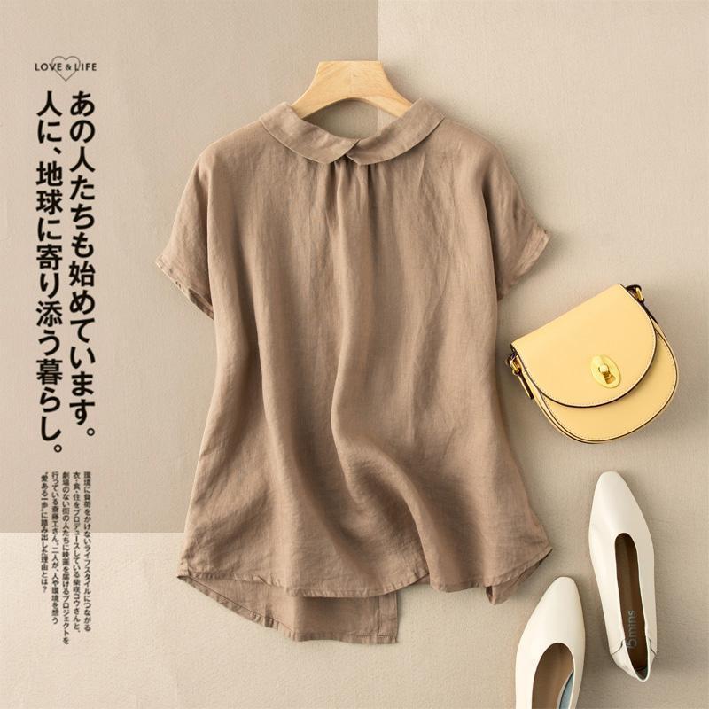 Summer New Fashion Donne Manica corta Camicie allentate All-abbinate Casual Peter Pan Collar Cotton Blouse Plus Size 210303