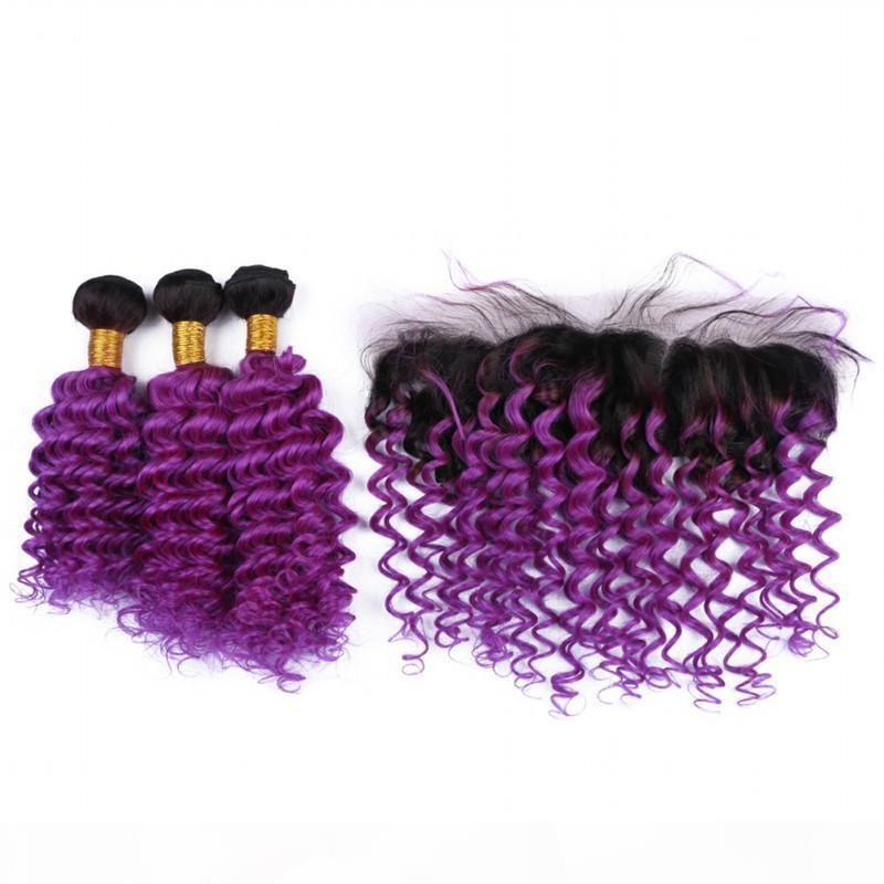 Бразильские омбурные фиолетовые человеческие волосы с кружевной лобной крышкой 13x4 глубокая волна 1b фиолетовые ombre девственницы человеческие волосы волосы с полными фронтальными пучками