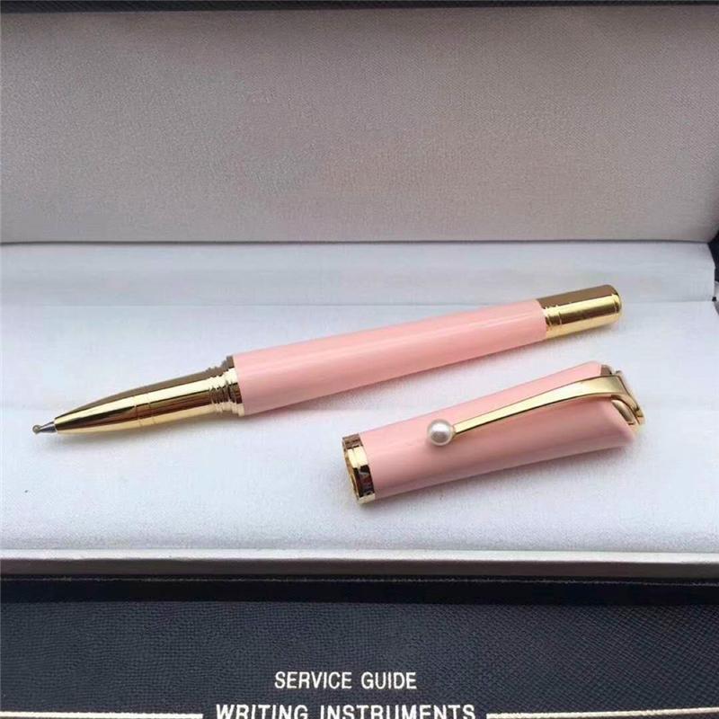 Promoção-caneta 6 cores caneta esferográfica de metal / canetas de bola de rolo com pérola clipe de alta qualidade senhora recarga-canetas presente
