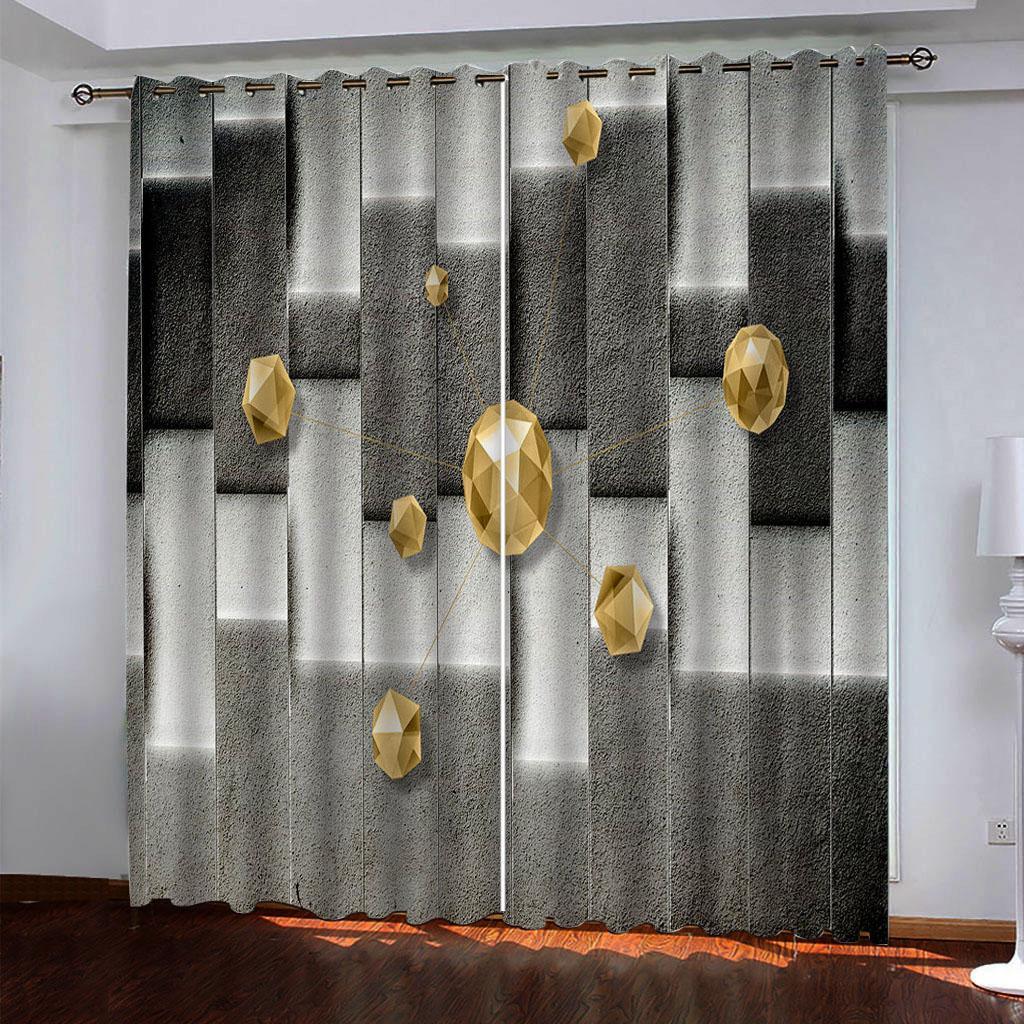 Европейский стиль занавес занавес для печати гостиной спальни шторы геометрические шторы 3D