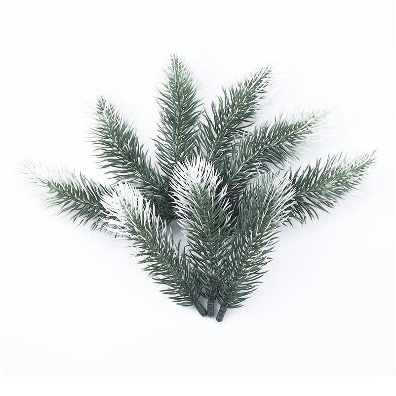 100pcs 인공 식물 플라스틱 소나무 바늘 눈송이 크리스마스 화환 소재 결혼식 꽃 꽃 화환 호 Qylgly