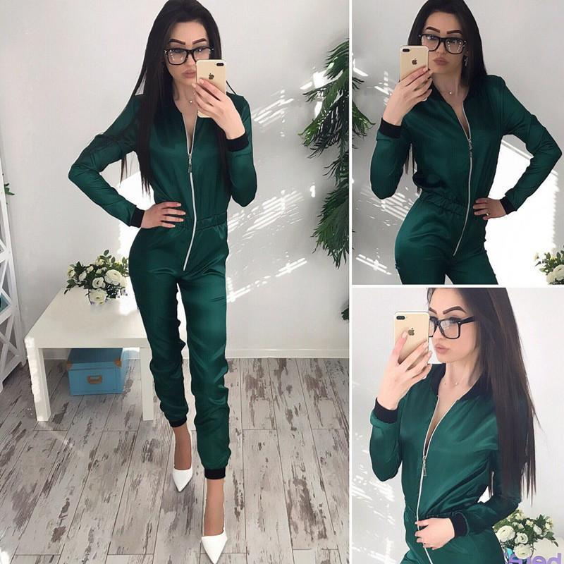 Women's Jumpsuits & Rompers Autumn Satin Jumpsuit Women Solid Color Long Sleeve Zip Female Casual Soft One Piece Pants Playsuits Overalls