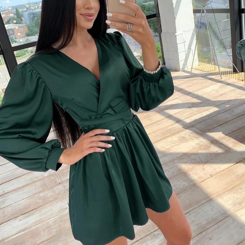 Kadınlar Seksi Derin V Yaka Mini Elbise Fener Kol Katı Sashes Saten Parti Bir Çizgi Elbise Sonbahar Yeni Ofis Lady Vintage Elbise 210303