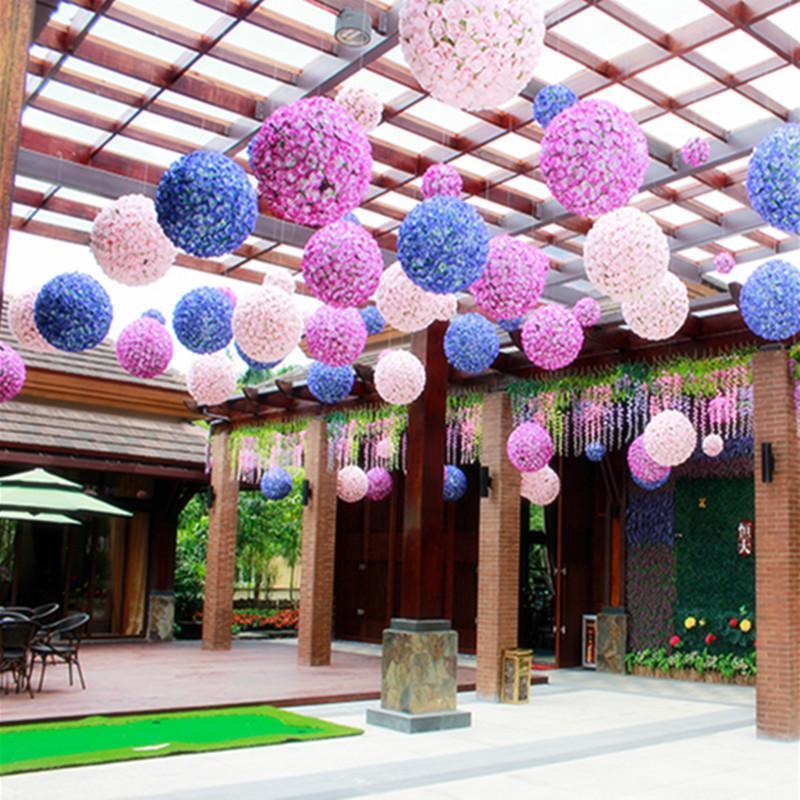 """25 سم / 10 """"ارتفع الحرير الاصطناعي زهرة التقبيل الكرة كبيرة الحجم فانوس لعيد الميلاد الحلي حزب الزفاف الديكور"""