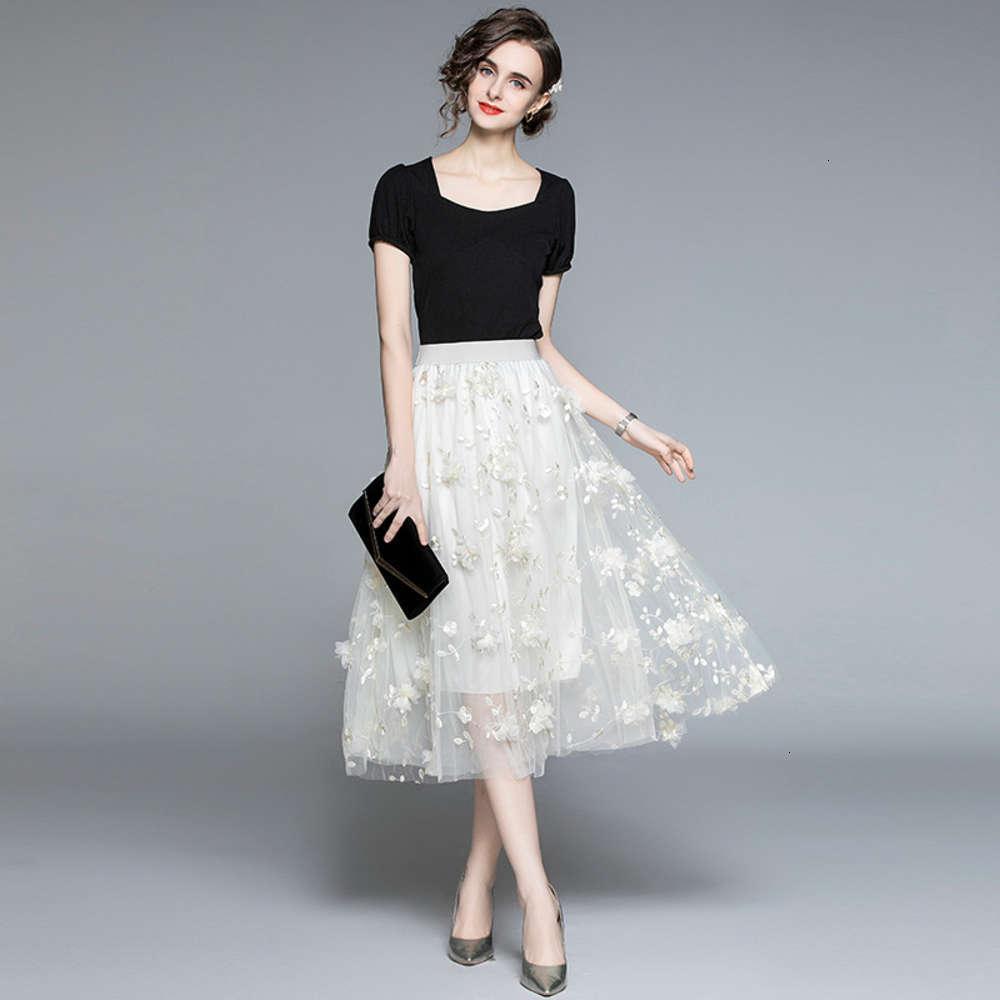Костюм женские 2021 летняя носить новую черную футболку с коротким рукавом + высокая талия тонкий сетка трехмерная вышивка цветочная юбка