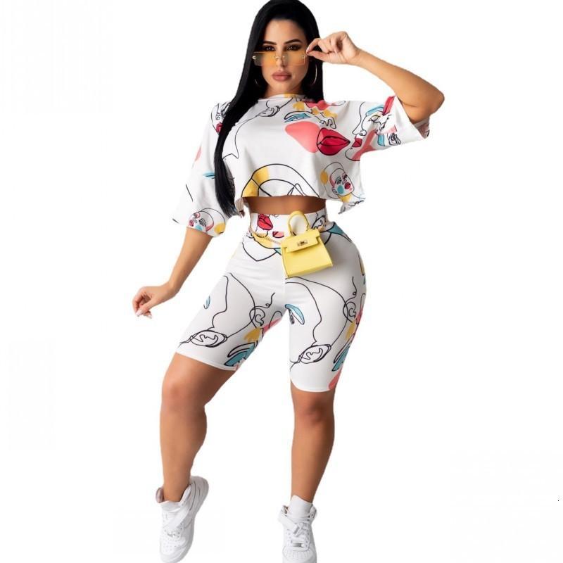Casual Set deux t-shirts de femmes cultures et pantalons à taille haute, costume à la mode, peinture à la main, peinture, femme, formation féminine définit 2021 été 9mx9