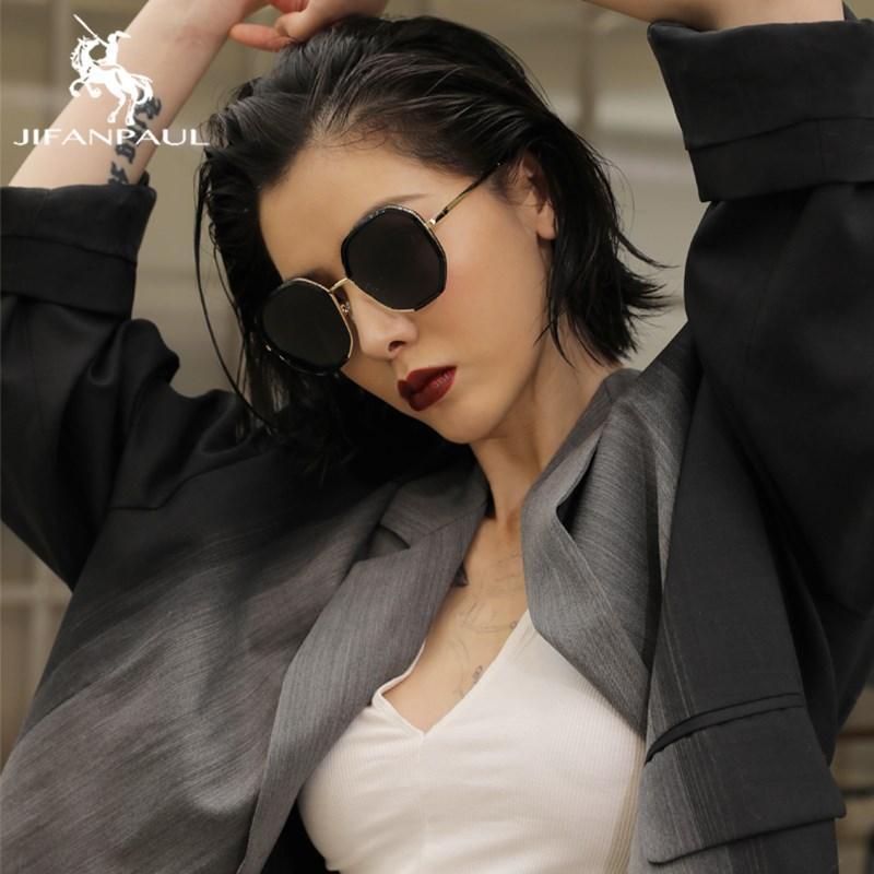 JIFANPAUL Black Pilot Woman Retro Sunglasses Design Cat Eye Polarized Sunglasses Polarized Women Driving Glasses
