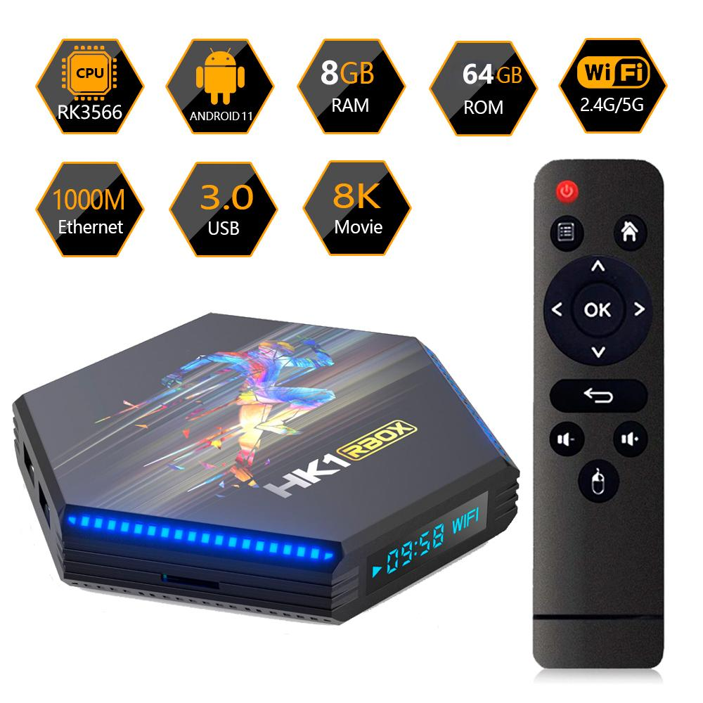 Android 11.0 Scatola TV DDR4 8 GB 64 GB HK1 RBOX R2 RK3566 Quad Core Core 4G32G 4G 64G 8K Smart Media Player 1000m 2.4 / 5G Dual Band WiFi Bluetooth 4.0 TVBox Android11 USB 3.0