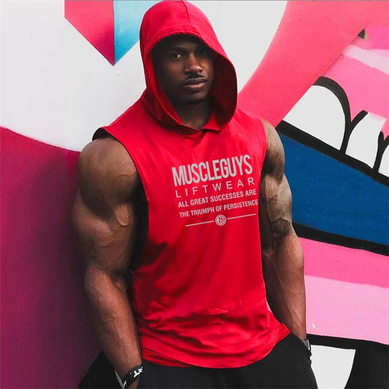 muscleguys 2021 여름 브랜드 망 편지 인쇄 체육관 스트링거 조끼 보디 빌딩 의류 피트니스 민소매 후드 탱크 탑스 남자