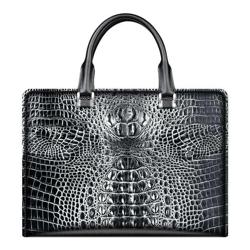 서류 가방 남자 악어 핸드백 토트 정품 가죽 노트북 비밀 번호 코딩 된 잠금 사업 어깨 가방 브랜드 14 인치 Bolsas