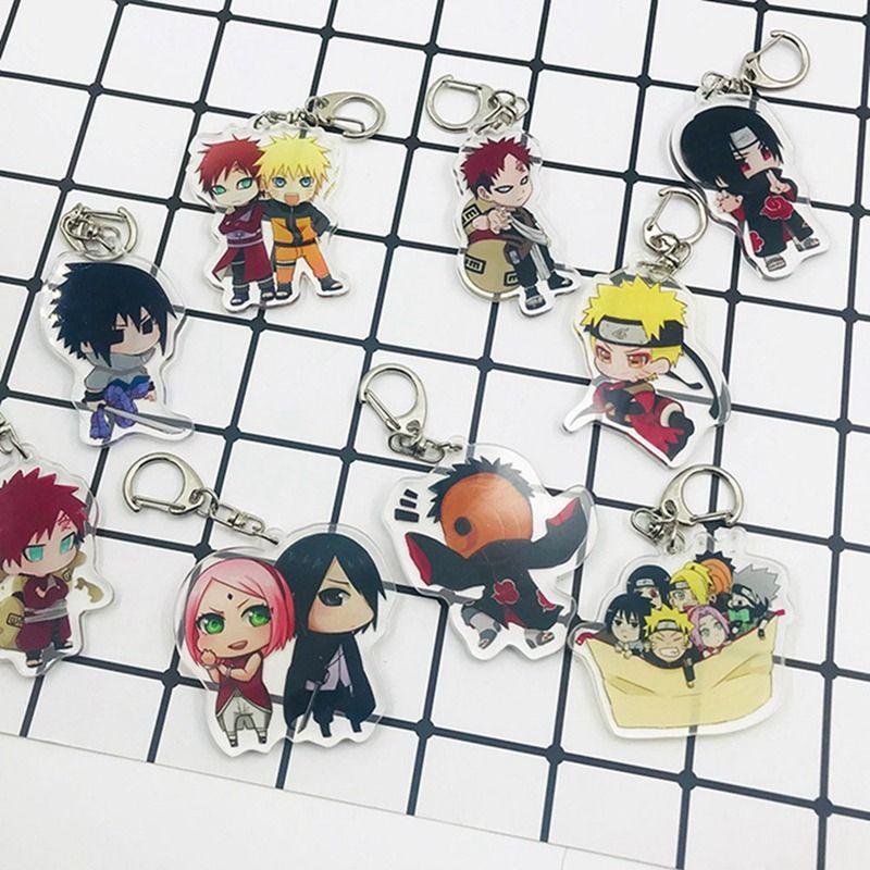 1 pz Anime Naruto Portachiavi Pendente Ciondoli Acrilico Doppio Pendenti Itachi Uchiha Madara Borsa Zaino Accessori Appeso Y0306