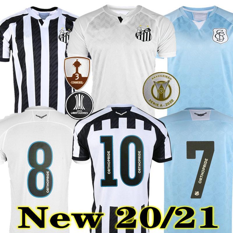 Soteldo 20 21 Santos Jersey Drittes Home White Soccer Alison Gustavo H. Pato Sanchez Cueva 2020 2021 Santos weg Dritter Fußball Hemd Bryan