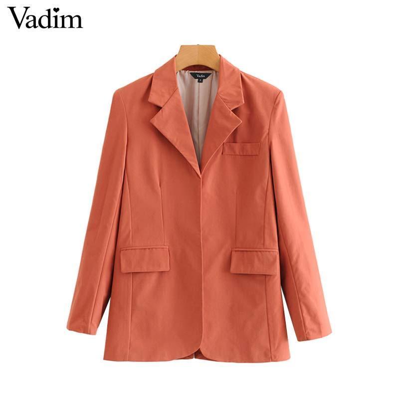 Women's Suits & Blazers Vadim Women Stylish Solid Basic Blazer Long Sleeve Notched Collar Back Split Design Pockets Female Office Wear Tops