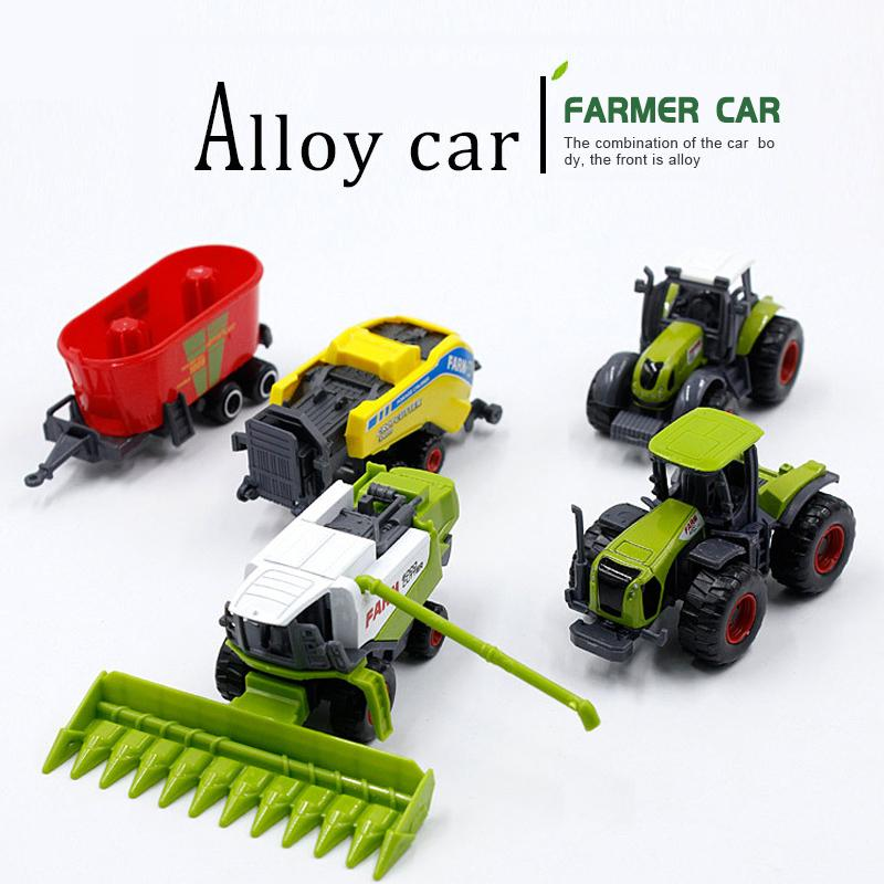 Mini Farmer Alloy Engineering Tractor Farm Fars Reft Boy Moke Toy Model Diecast Simulation Car 210226