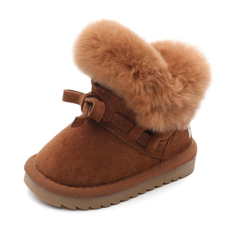 바바야 겨울 어린이 신발 소녀 아이들을위한 눈 부츠 겨울 새로운 패션 따뜻한 플러스 벨벳 소년 아기 짧은 부츠 210315