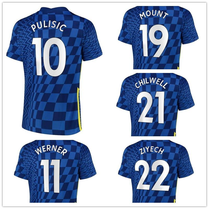 Customized 10 PULISIC 9 Abraham 21-22 22 ZIYECH 11 Werner 29 HAVERTZ 28 Azpilicueta 19 Mount 24 Cahill Thai Quality soccer jerseys