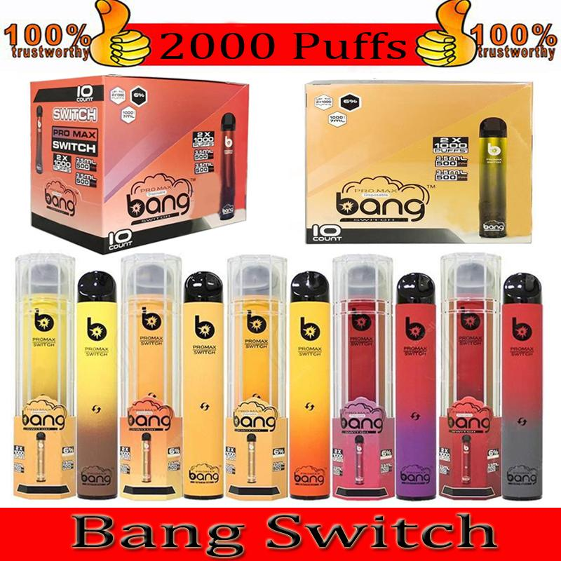 Bang Max Pro Interruptor Vape desechable Pen Bang XXL 2 en 1 Dispositivo 7ml PODS 2000 Puffs Bang XXtra Vape