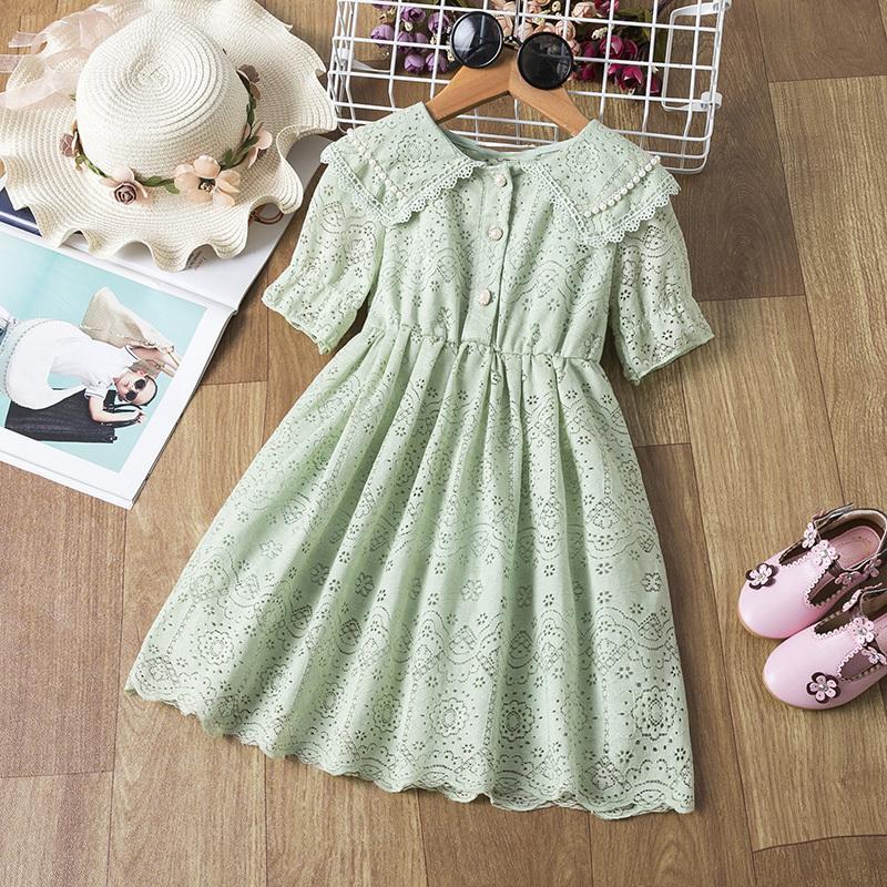 Vestido de encaje de flores de niñas 2020 otoño moda abalorios niños niños niños ropa ropa noche noche fiesta de cumpleaños niños ropa C0223