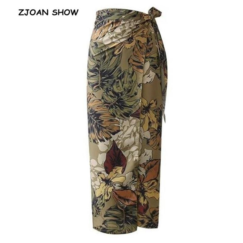 Sexy Flower hojas de impresión de lazo de lazo de lazo Sashes Wrap Falda Vintage Mujeres Alta Cintura Slim Fit Mid-becerro Long Lápiz Faldas Holiday 210310