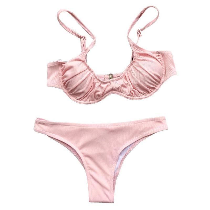 Frauen Badebekleidung Bikini 2021 Badeanzug Frauen Push Up Patchwork Brazilian Beach Anzug Schwimmen Sommer Wear Set Badewanne Biquini A9E5