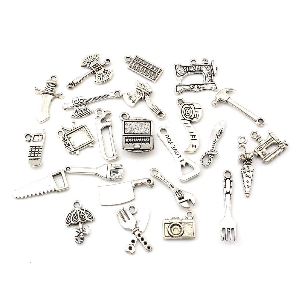 115 unids / lote Tíbet Silver Mix Herramienta Hecho A Mano Metal Encantos Colgantes DIY Joyería Haciendo Accesorios A-660