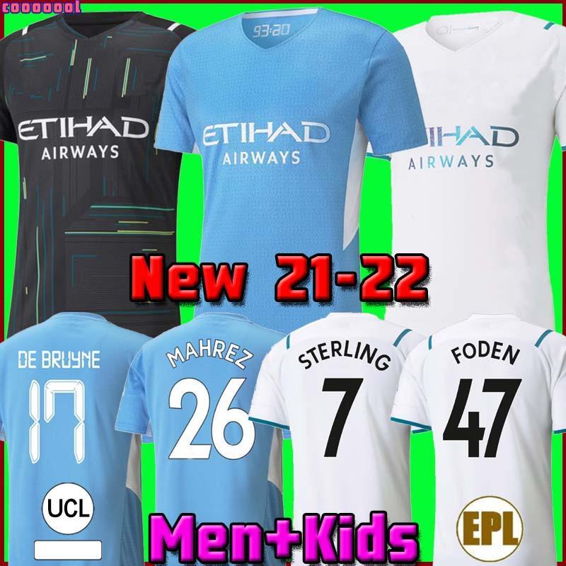 Thaïlande Manchester City maillot de football 2020 2021 STERLING DE BRUYNE KUN AGUERO 20 21 Fans version joueur homme city maillot de football hommes et enfants kit ensemble