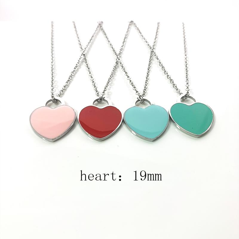 Luxury necklace womens A set of packaging stainless steel 19mm heart pendant blue pink green red jewelry on the neck Valentine day gift girlfriend wholesale
