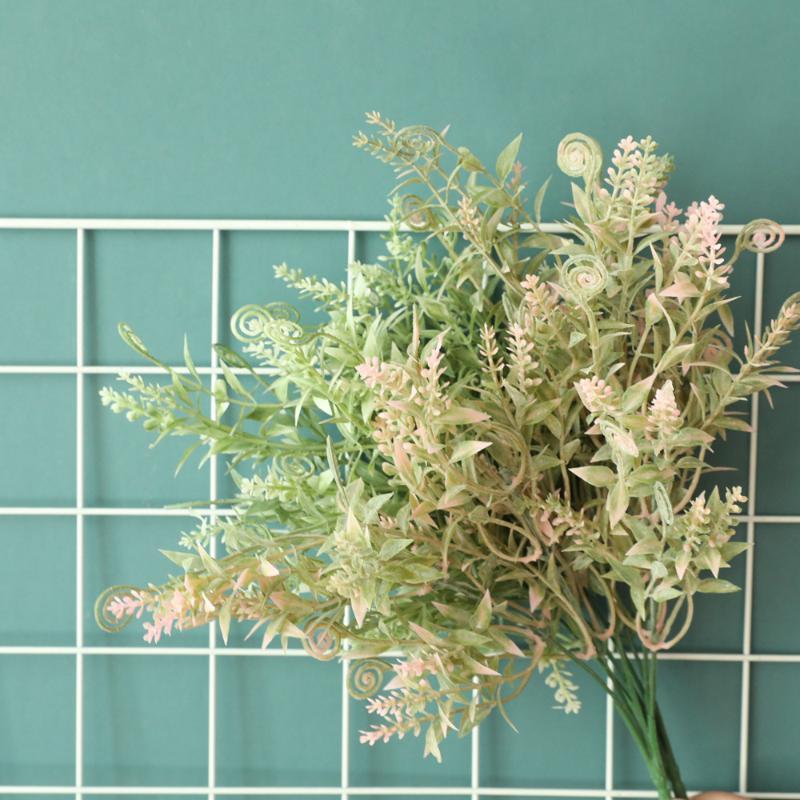 Flores artificiales Hojas de plástico Blanco Fuzzy Powder Hippocampus Grass Fake Plantas Boda Casa Decoración Arreglo Accesorio