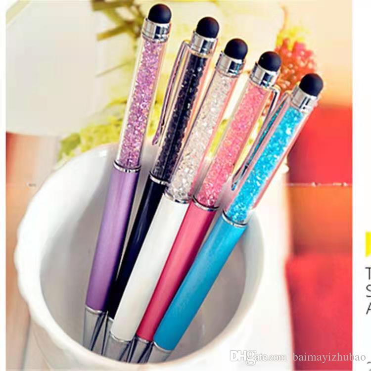 Moda Creative Crystal Diamond Ball Point Papas Papelaria Point Point Pen 20 Color Oily Preto Recarga