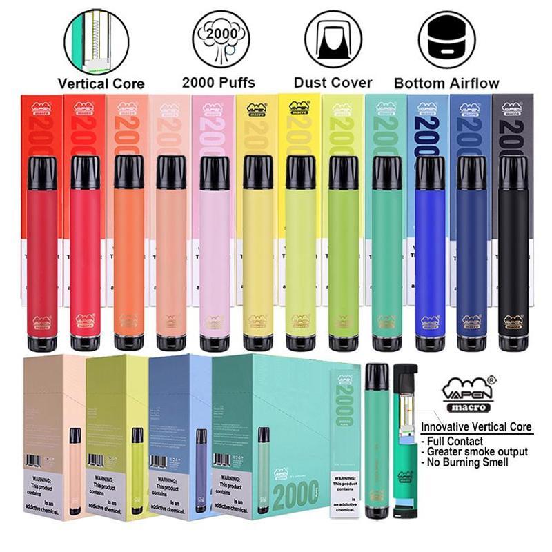 100 % 원래 vapen 매크로 일회용 포드 디바이스 2000 하단 공기 흐름과 퍼프 vape 펜 스틱 6ml vape 카트리지 기화기 스틱 펜 DHL