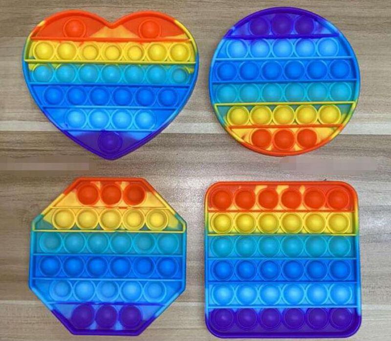 Push pop fidget игрушка радуги пузырь сенсорный аутизм специальные нужды resess reviever его сжать сенсорную игрушку для детей семьи 100 шт. L007