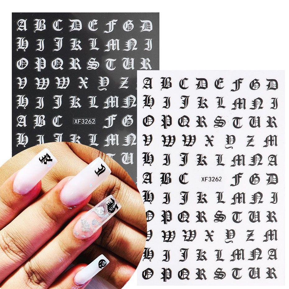 3D Número simbólico Nail Art Pegatinas Decoración Decoración Manicura Color mezclado Mariposa Estrella Estrella Autoadhesivo DIY Nails Consejos Etiqueta Etiqueta