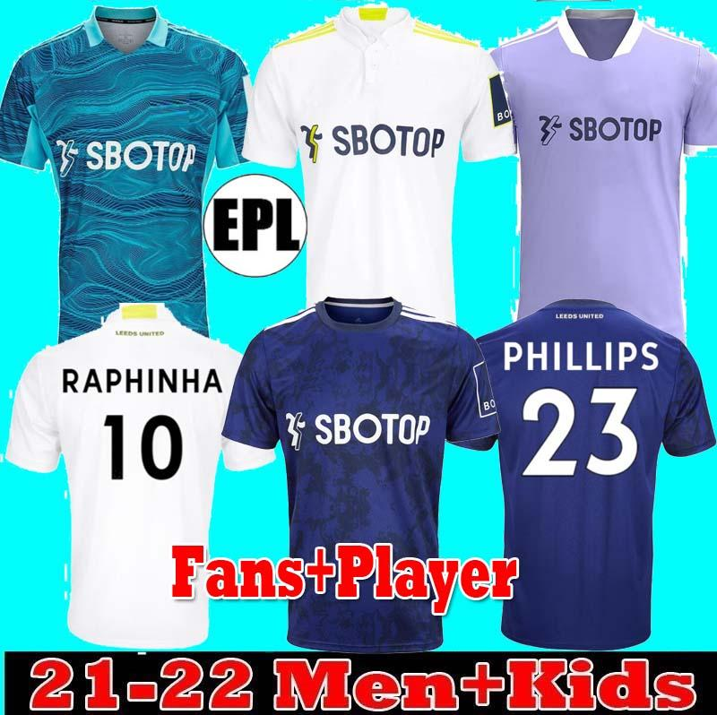 Fans Player Leeds Home Alejed Fútbol Jersey United 21 22 Harrison Bamford T.Reberts Raphinha Rodrigo M Llorente R 2021 2022 Hombres Kit Kit Kit de fútbol Uniformes