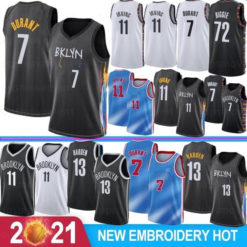 Kevin 7 Durant Kyrie 11 Mens Irving 13 Harden Koleji Basketbol Formaları Camisetas de Baloncesto 2021 Yeni Stok S-XXL Harden New Jersey