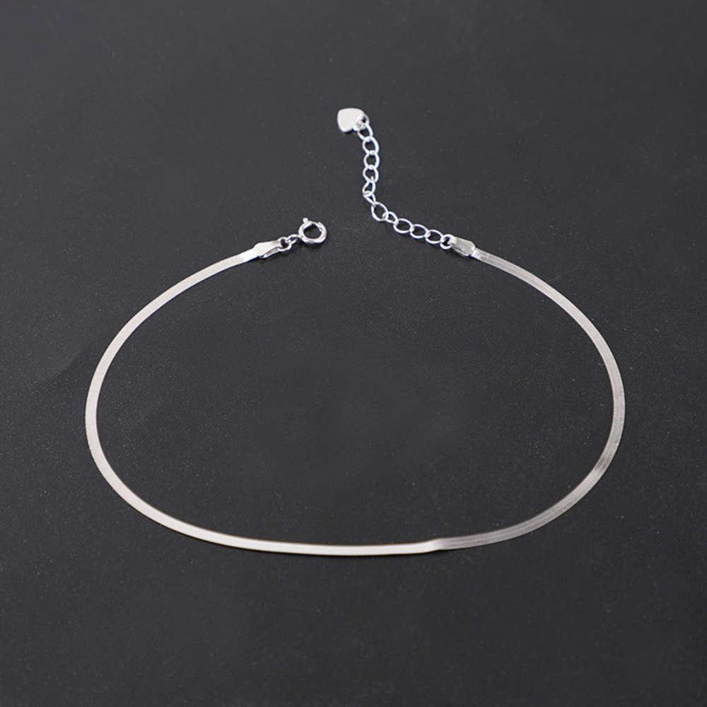 Hueso de serpiente de plata S925 para mujeres: cadena de pie simple y sexy, coreana JL-0020