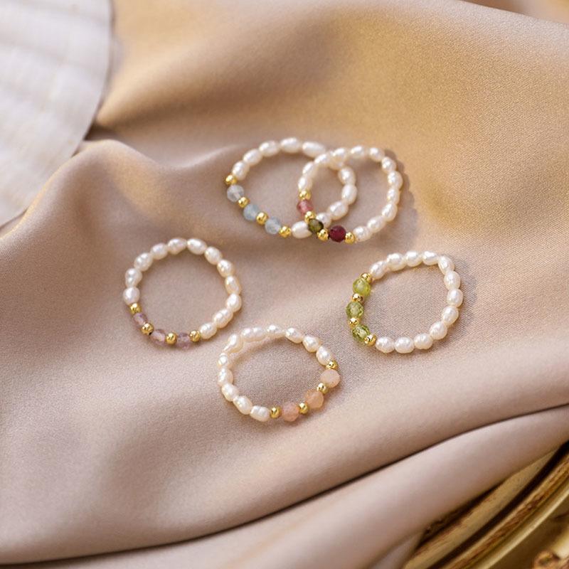 Aomu Retro Crystal Multi Beaded Natural Natural Pearl Anillos geométricos para mujeres Círculo Continuo Minimalista Anillo