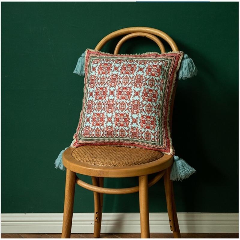 Couvercle vintage vert coussin vert avec ruban Tassels Décoration de style boho couvre d'oreiller ethnique de style 43x43cm / 30x50cm canapé oreiller 210317