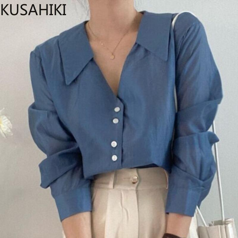 Frauen Blusen Hemden Kusahiki 2021 Herbst Elegante Runde Dwon Kragen Bluse-Hemd Koreanische Frauen Chic Chic Solid Tops Mode Blusas Camisas Muje