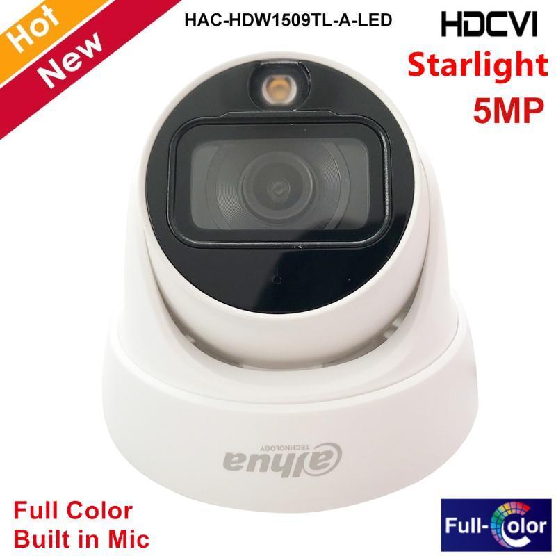 Kameras Dahua 5mp Full Color Starlight HDCVI-Kamera Augapfel 20m LED-Entfernung eingebautes Mikrofon mit warmen Ergänzungsleuchten