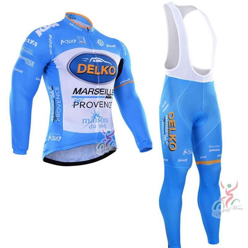 Delko Takımı Bisiklet Uzun Kollu Formalar (Bib) Bib Set Pro Takım Tour de Fransa Sonbahar Hızlı Kuru Bisiklet Giyim Yol Bisiklet Y21031608 Giyim