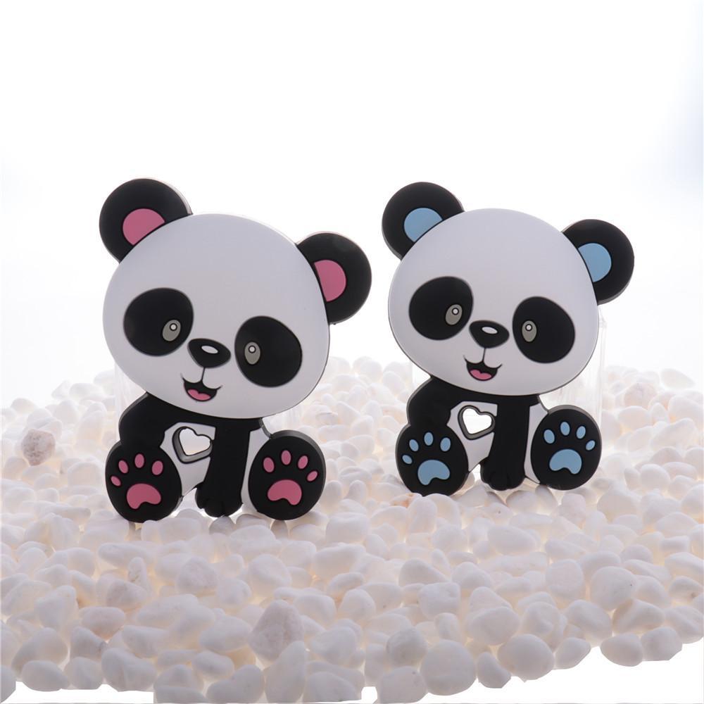 10 pc Panda Silicone Bebê Teether BPA Livre Recém-nascido Recepção Colar de Chupeta Corrente Acessórios Roedor Comida Grau Pingente Brinquedo DIY 210311