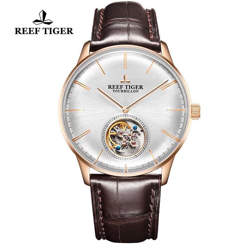 Reef Tiger / RT Top Uomo Uomo Automatico Orologio da menchaincal +++ Tourbillon Zapphire Crystal Rose Gold Watch