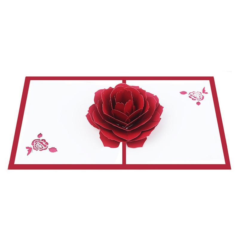 Greeting Cards 3D Flower -up Card Red 7-layer Valentine's Day Gift Postcard Wedding Invitation Anniversary