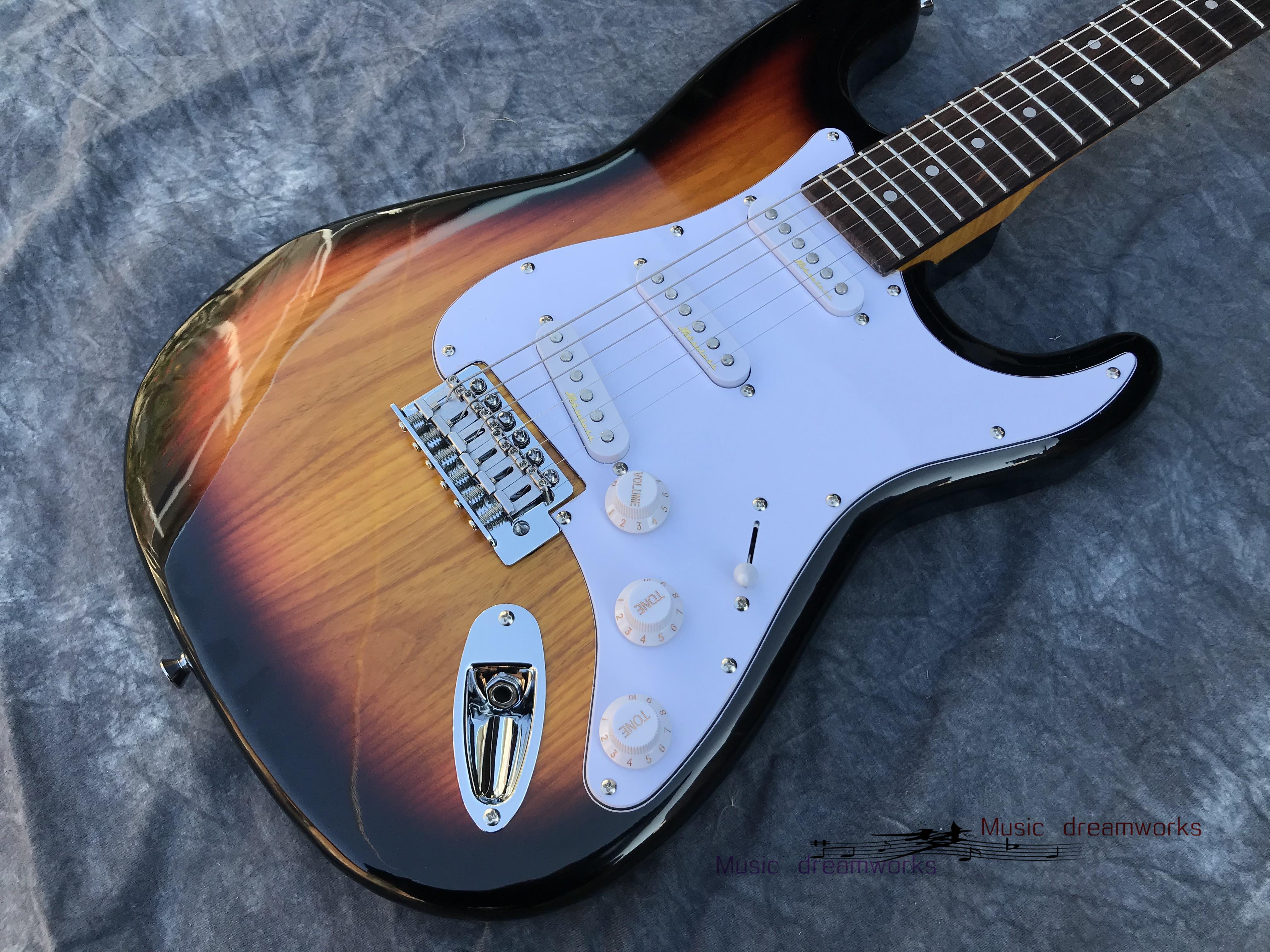 Çin Elektro Gitar Gümrük Mağazaları S T Gitar Alder Vücut, Alev Akçaağaç Boyun
