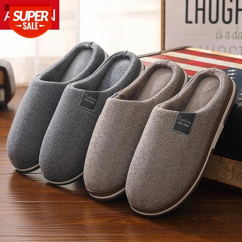 Asifn зима дома мужские тапочки классический мех простой дом не скольжения толстые нижние мулы теплые плоские каблуки туфли спальня мужские тапочки # UD1D