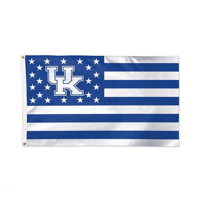 NCAA Regno Unito Stars Stripes Bandiera Kentucky Team Wildcats Bandiera 3x5ft Doppio banner cucito 90x150cm Festival sportivo Digitale Pril3vm